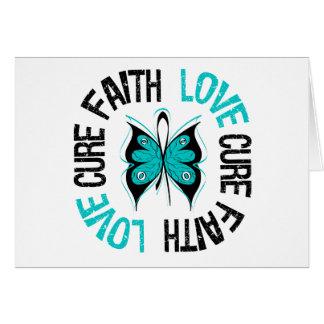 Mariposa del amor de la fe del cáncer ovárico felicitacion