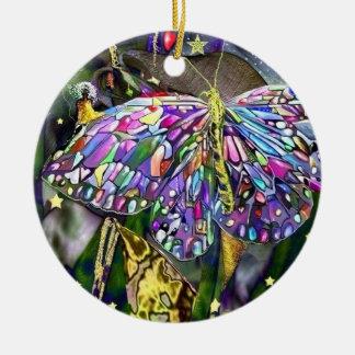 ¡Mariposa del Año Nuevo! Adorno Navideño Redondo De Cerámica