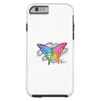 Mariposa del arco iris funda de iPhone 6 tough