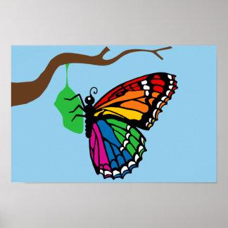 Mariposa del arco iris que emerge de crisálida posters