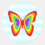Mariposa del arco iris y pegatina de las rayas azu