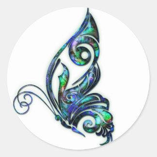 Mariposa del art déco de Shell del olmo Pegatina Redonda