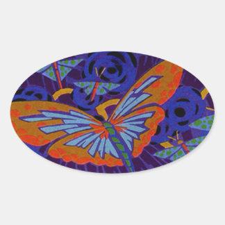 Mariposa del art déco pegatina ovalada