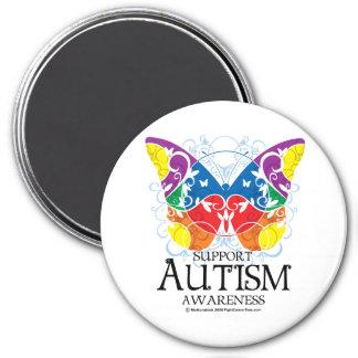 Mariposa del autismo imán redondo 7 cm