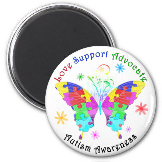 Mariposa del autismo imán redondo 5 cm
