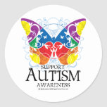 Mariposa del autismo pegatina redonda