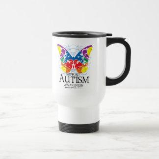 Mariposa del autismo taza de viaje