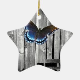 mariposa del azul de la viruta del barnwood del pa adornos de navidad