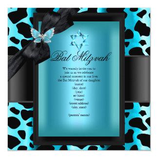 """Mariposa del azul del trullo del leopardo de invitación 5.25"""" x 5.25"""""""