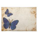 Mariposa del azul del vintage manteles