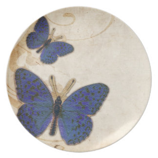 Mariposa del azul del vintage plato