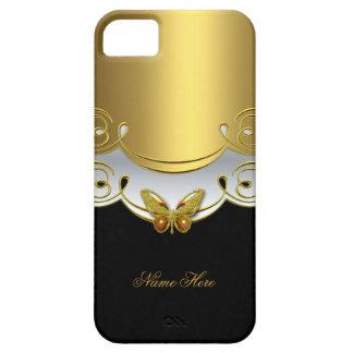 mariposa del blanco del negro del oro verde del iPhone 5 fundas