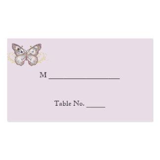 Mariposa del brillo en tarjetas del lugar del boda plantillas de tarjetas de visita