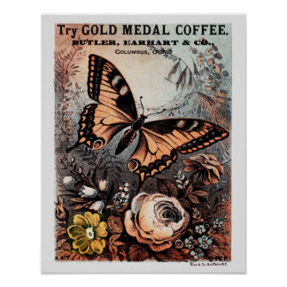 Mariposa del café de la medalla de oro poster