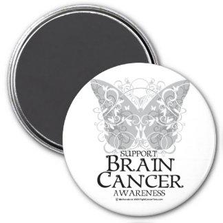 Mariposa del cáncer de cerebro imán redondo 7 cm