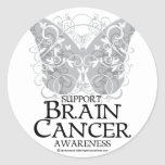 Mariposa del cáncer de cerebro pegatina redonda