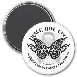 Mariposa del cáncer de cerebro tribal imán redondo 7 cm
