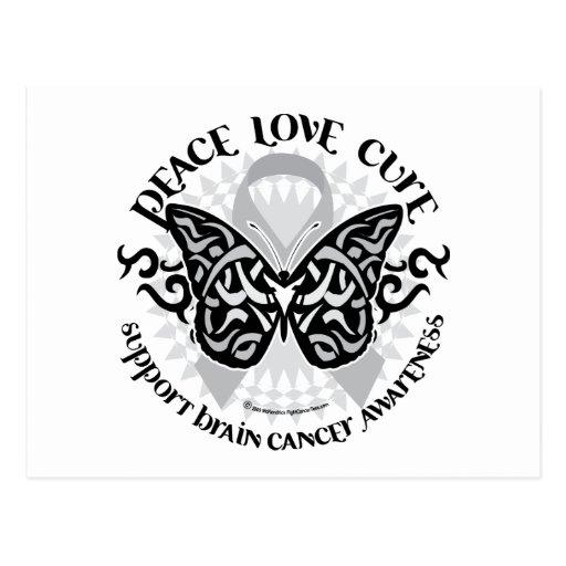 Mariposa del cáncer de cerebro tribal tarjetas postales