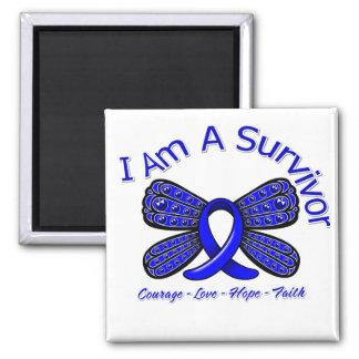 Mariposa del cáncer de colon soy un superviviente imán cuadrado