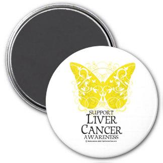 Mariposa del cáncer de hígado imán redondo 7 cm