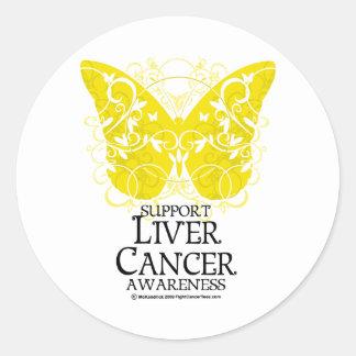 Mariposa del cáncer de hígado pegatina redonda