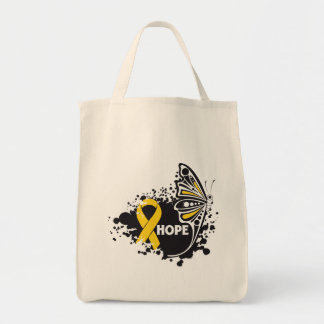 Mariposa del cáncer de la niñez de la esperanza bolsas lienzo