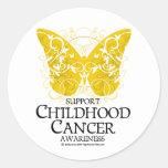 Mariposa del cáncer de la niñez etiqueta redonda