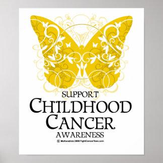 Mariposa del cáncer de la niñez póster