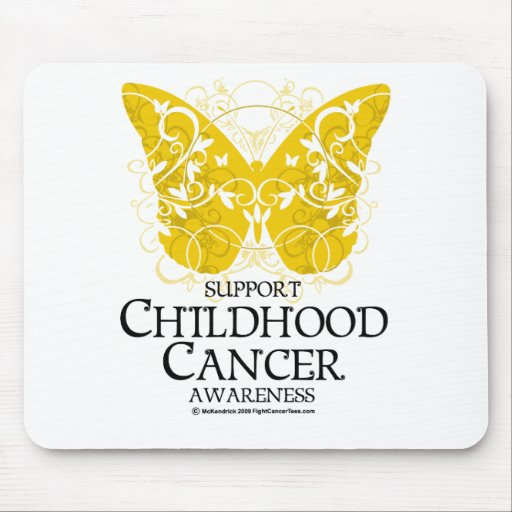 Mariposa del cáncer de la niñez tapete de ratones
