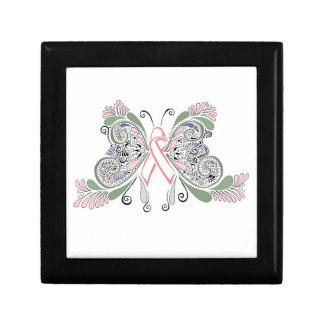 Mariposa del cáncer de pecho caja de recuerdo