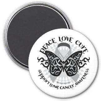 Mariposa del cáncer de pulmón tribal imán redondo 7 cm