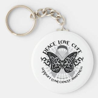 Mariposa del cáncer de pulmón tribal llavero redondo tipo pin