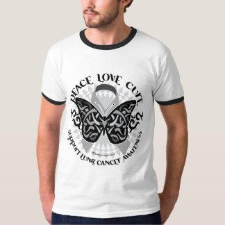 Mariposa del cáncer de pulmón tribal remeras