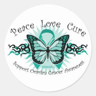 Mariposa del cáncer ovárico tribal pegatinas redondas