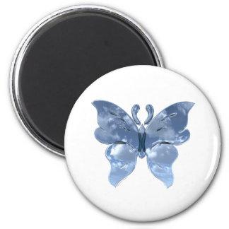Mariposa del cielo azul imanes