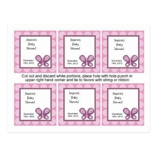Mariposa del ciruelo del azúcar de 6 etiquetas del tarjetas postales