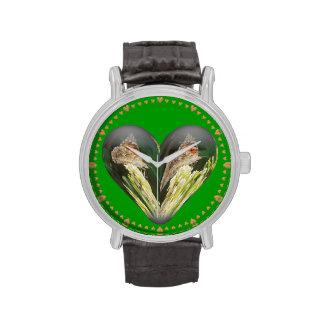 mariposa del corazón reloj de mano