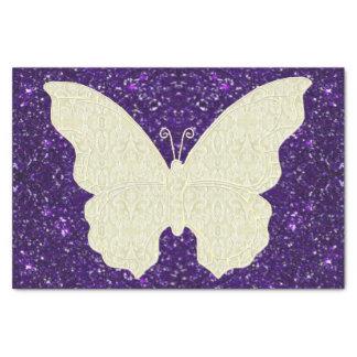 Mariposa del cordón en el papel seda púrpura del papel de seda pequeño