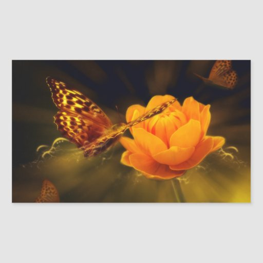 Mariposa del cuento de hadas pegatina rectangular
