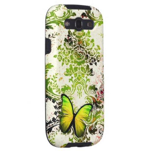Mariposa del damasco del jardín del verde del vint galaxy s3 protector