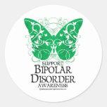 Mariposa del desorden bipolar etiqueta redonda