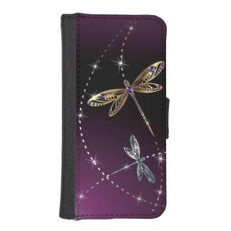 Mariposa del diamante del encanto funda tipo cartera para iPhone 5