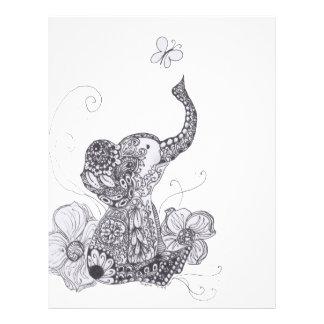 Mariposa del elefante de Zentangle Plantillas De Membrete