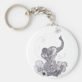 Mariposa del elefante llavero redondo tipo pin