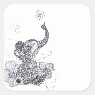 Mariposa del elefante pegatina cuadrada