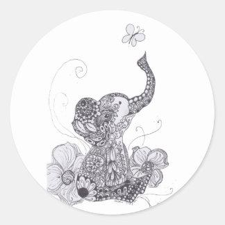 Mariposa del elefante pegatina redonda