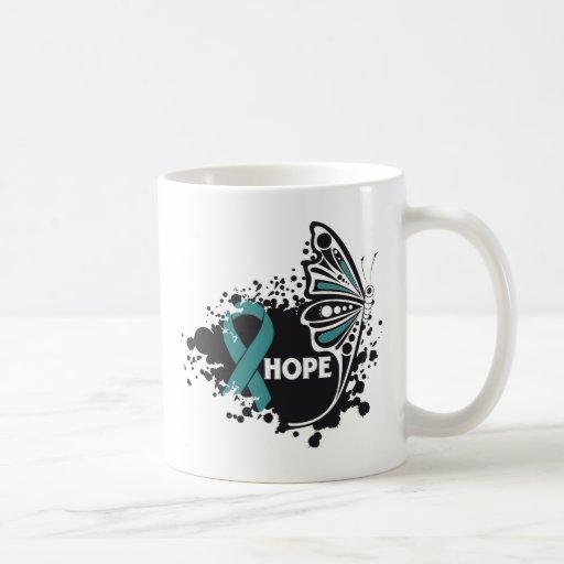 Mariposa del escleroderma de la esperanza tazas
