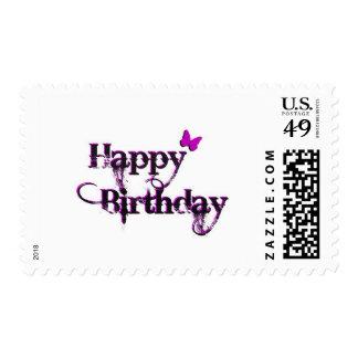 Mariposa del feliz cumpleaños sello