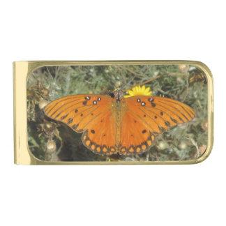 Mariposa del Fritillary del golfo Clip Para Billetes Dorado