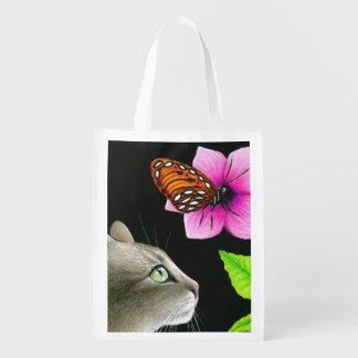 Mariposa del gato 410 bolsa reutilizable